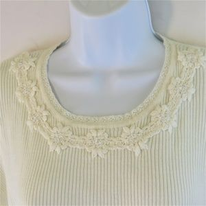 Alfred Dunner Sweater Top Beaded Accent Size XL